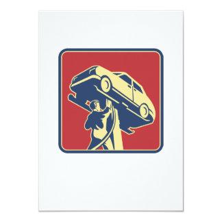 Mechanic Technician Car Repair Retro 4.5x6.25 Paper Invitation Card