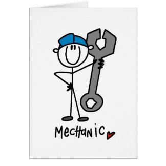 Mechanic With Wrench Stick Figure Card