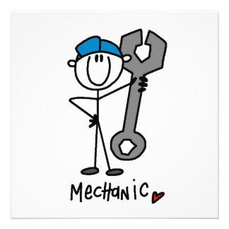 Mechanic With Wrench Stick Figure Personalized Invitation