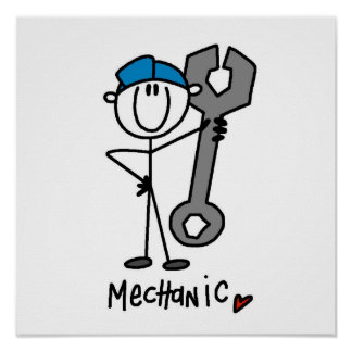 Mechanic With Wrench Stick Figure Poster