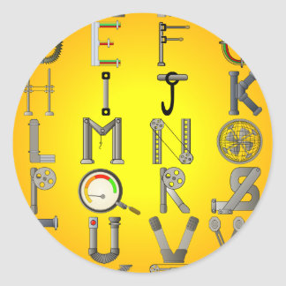 MECHANICAL ALPHABET CLASSIC ROUND STICKER