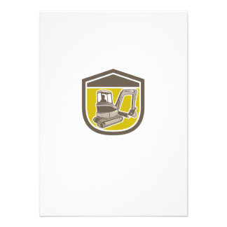 Mechanical Digger Excavator Shield Retro Personalised Announcement