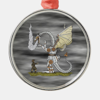 Mechanical Dragon Silver-Colored Round Decoration