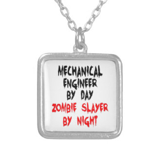 Mechanical Engineer Zombie Slayer Silver Plated Necklace