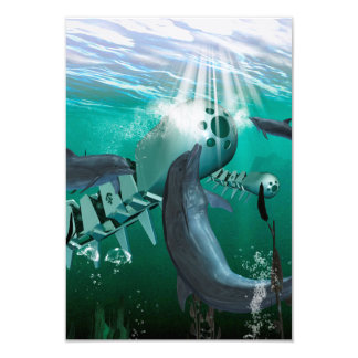 Mechanical fish and dolphins 9 cm x 13 cm invitation card