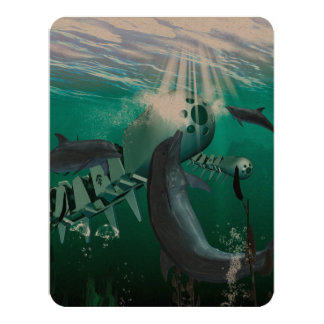 Mechanical fish and dolphins 11 cm x 14 cm invitation card