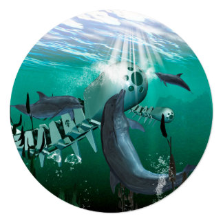 Mechanical fish and dolphins 5.25x5.25 square paper invitation card
