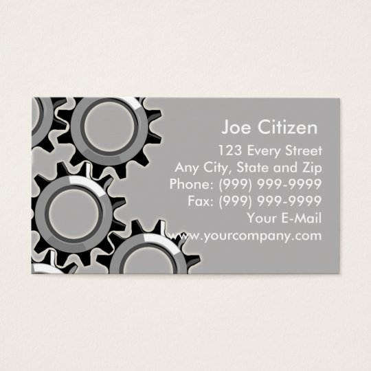 mechanical gears or cogs business card
