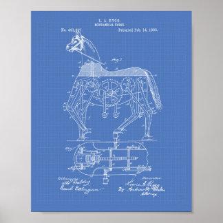 Mechanical Horse 1893 Patent Art Blueprint Poster