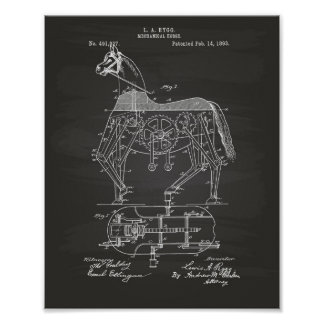 Mechanical Horse 1893 Patent Art Chalkboard Poster