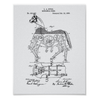 Mechanical Horse 1893 Patent Art White Paper Poster