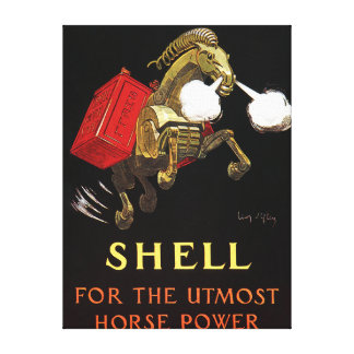 Mechanical Horse with Shell Oil Stretched Canvas Prints