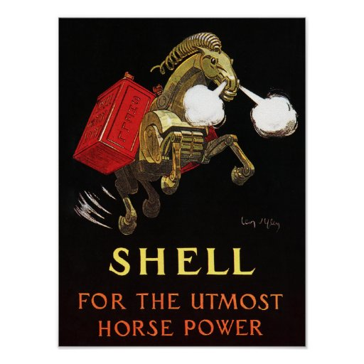 Mechanical Horse with Shell Oil Print