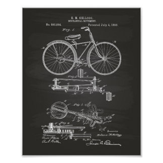 Mechanical Movement 1893 Patent Art Chalkboard Poster