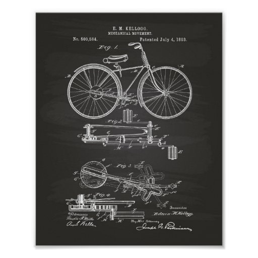 Mechanical Movement 1893 Patent Art Chalkboard Poster