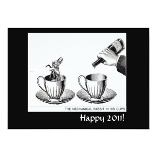 "Mechanical Rabbit New Years Eve invite 5"" X 7"" Invitation Card"