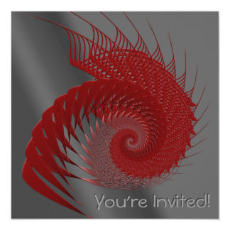 Mechanical Shell. Red and Gray Digital Art. 13 Cm X 13 Cm Square Invitation Card