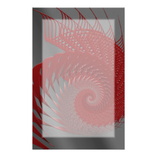 Mechanical Shell. Red and Gray Digital Art. Stationery Design