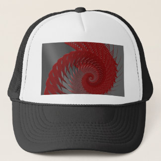 Mechanical Shell. Red and Gray Digital Art. Trucker Hat