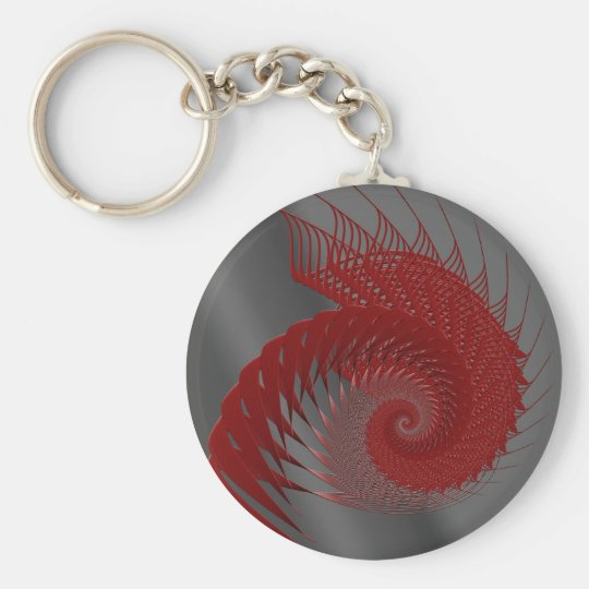 Mechanical Shell. Red and Grey Digital Art. Basic Round Button Key Ring