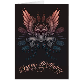 Mechanical Skull Birthday Cards