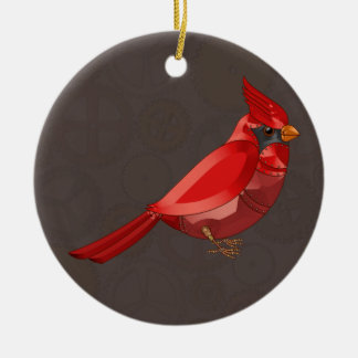 Mechanical Steampunk Cardinal in Faux Metallics Christmas Ornament