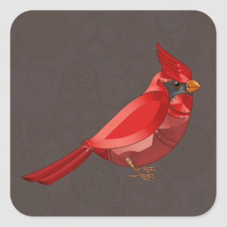 Mechanical Steampunk Cardinal in Faux Metallics Square Sticker