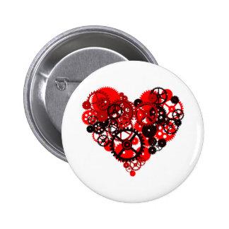 MECHANICAL STEAMPUNK HEART 6 CM ROUND BADGE