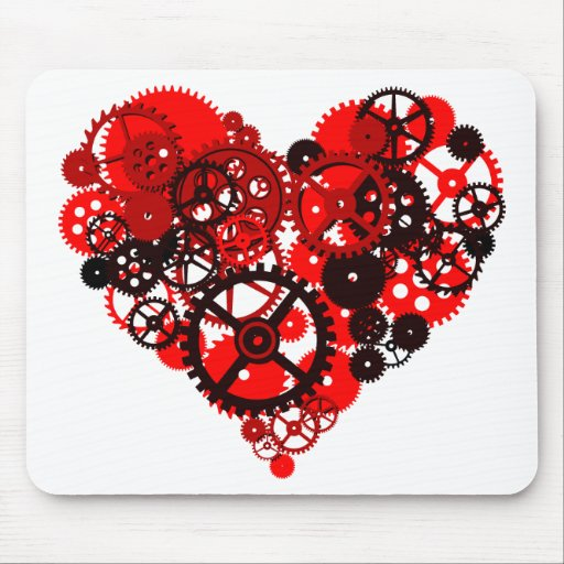 MECHANICAL STEAMPUNK HEART MOUSE PAD