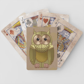 Mechanical Steampunk Owl in Faux Metallic Colors Bicycle Playing Cards