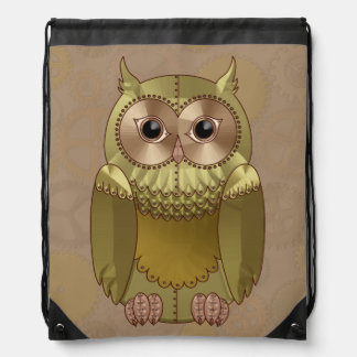 Mechanical Steampunk Owl in Faux Metallic Colors Drawstring Bag