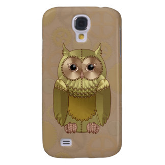 Mechanical Steampunk Owl in Faux Metallic Colors Galaxy S4 Case