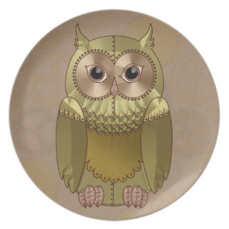 Mechanical Steampunk Owl in Faux Metallic Colors Plate