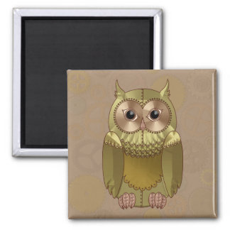 Mechanical Steampunk Owl in Faux Metallic Colors Square Magnet
