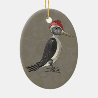 Mechanical Steampunk Woodpecker in Faux Metallics Christmas Ornament