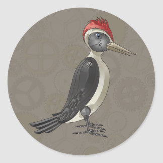 Mechanical Steampunk Woodpecker in Faux Metallics Classic Round Sticker