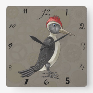 Mechanical Steampunk Woodpecker in Faux Metallics Square Wall Clock