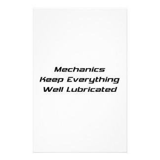 Mechanics Keep Everything Well Lubricated Stationery Design