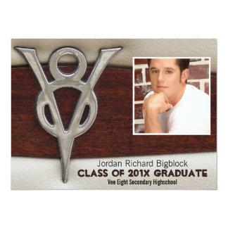 Mechanics Student V8 Emblem Photo Grad 14 Cm X 19 Cm Invitation Card