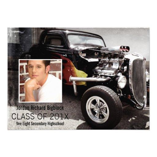 Mechanics Student V8 Emblem Photo Grad Personalized Announcement