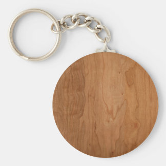 Med-Lt Wood Grain Basic Round Button Key Ring