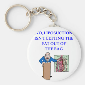 med school basic round button key ring