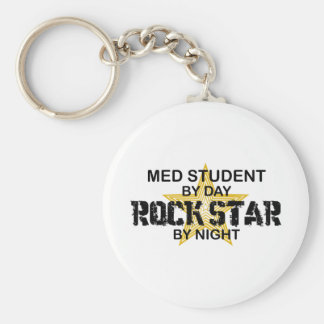 Med Student Rock Star by Night Basic Round Button Key Ring