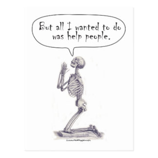 Med Student Skeleton Prayer Postcard
