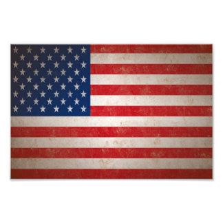 Med Vintage Grunge Style American Flag Photo Print