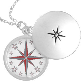"Medaillon ""Sea Breeze"" compass Silver Plated Necklace"