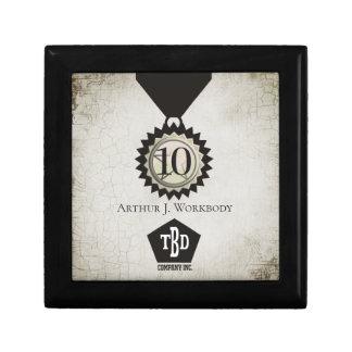 Medal emblem 10 year employee anniversary gift box