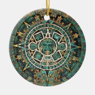 Medallion Coin Ornament, Ancient Aztec Calendar Christmas Ornament