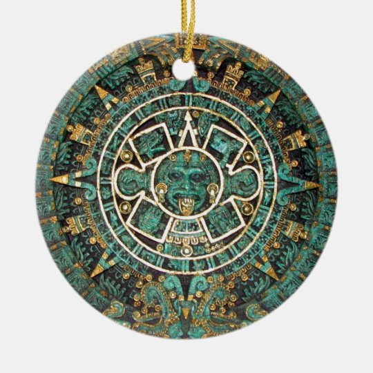 Medallion Coin Ornament, Ancient Aztec Calendar Christmas
