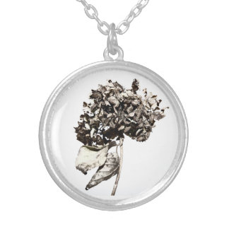 Medallion Hydrangea Silver Plated Necklace
